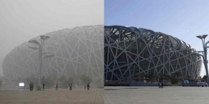 Smog in Beijing,'Birdsnest' nationaal stadium.
